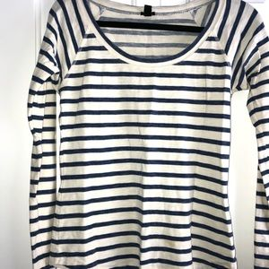 cream and navy stripped long sleeve